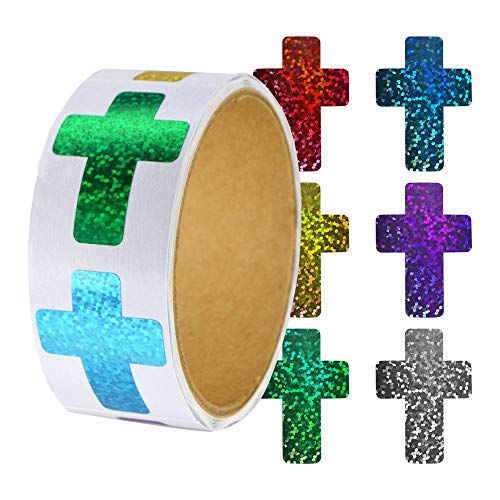 Religious Rainbow Sparkle Roll of 100 Cross Shaped Stickers