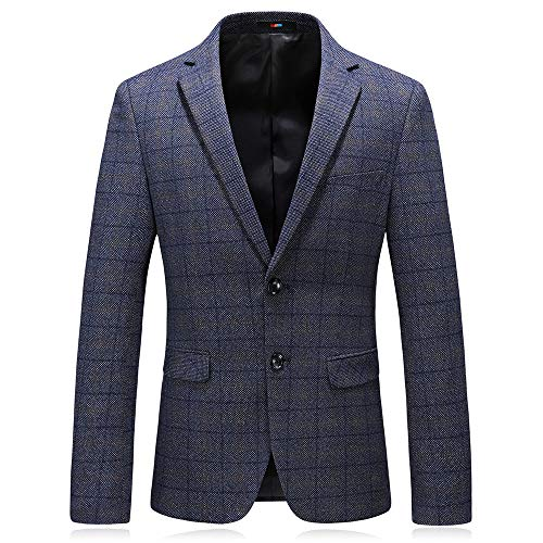 MAGE MALE Men's Plaid Blazer Jacket Slim Fit Causal Sport Coat Two Button Notched Lapel Formal Dinner Jacket Suit Blue