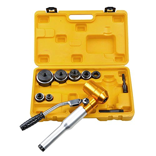 YeStarry 6 Ton Hydraulic Punch Driver Kit 6 Dies Hole Punch Knockout Set 11-gauge Conduit Sized Punches with Swivel Head (Conduit Punch)