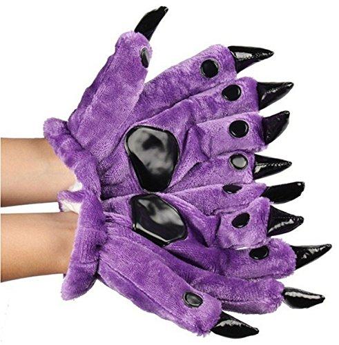 [Fusicase Unisex Winter Plush Adult Warm Animal Dinosaur Costume Paw Claw Gloves(Purple)] (Purple Monster Costumes)