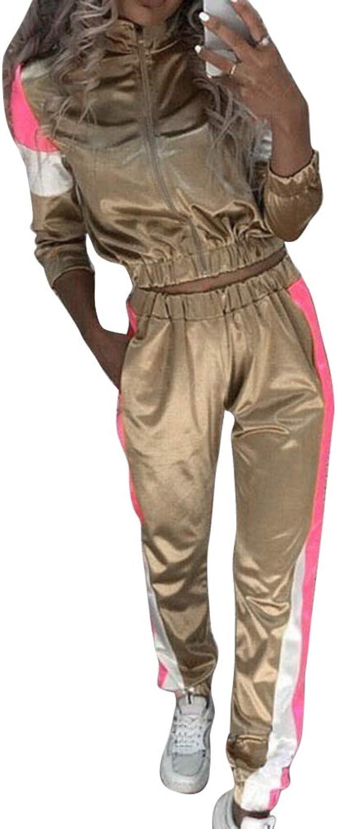 Unifizz Damen Jumpsuit Jogger Jogging Sport Trainingsanzug Overall Freizeitanzug Sportanzug 2 St/ück Outfits Pullover Hoodie Frauen Sweatpants Set