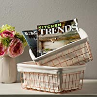 Great Wire Baskets for Storage | Rose Gold Metal Storage Basket for Storage with Removable Liner Curated Office Perfect Fruit Basket
