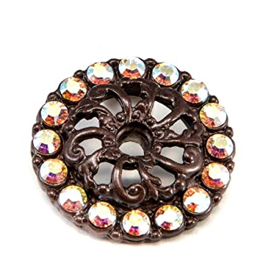 Carpe Diem Hardware 884-12AB Caché Escutcheon with Swarovski Crystals, Bronze