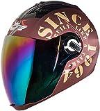 Steelbird SBA-2 TANK Full Face Helmet in Matt Finish with Rainbow Visor (Large 600 MM, Maroon/Gold)