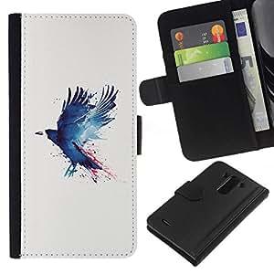 All Phone Most Case / Oferta Especial Cáscara Funda de cuero Monedero Cubierta de proteccion Caso / Wallet Case for LG G3 // Blue Grunge Raven