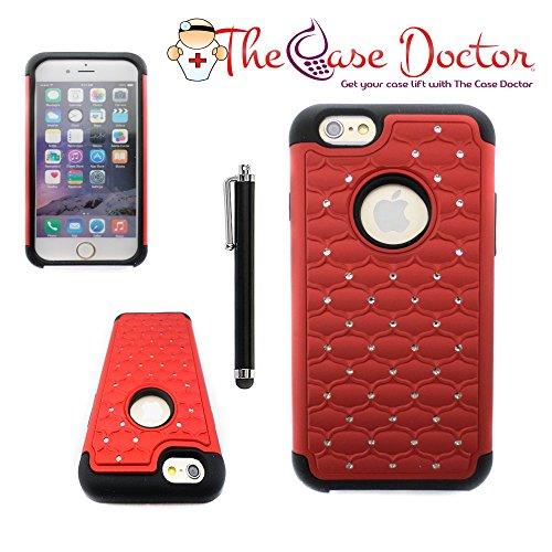 TCD for Apple iPhone 6 6S [4.7 inch ONLY] [RED] Diamond Executive Armor Series [HIGH IMPACT] Multi Layer [Hard/Soft Combo] TPU Hard Plastic Shock Absorbent [SCREEN PROTECTOR STYLUS]