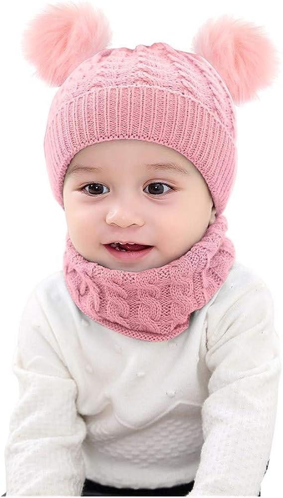 oenbopo 2Pcs Infant Toddler Kids Baby Winter Warm Knit Hat Beanie Cap /& Neck Warmer Circle Loop Scarf for Girls Boys