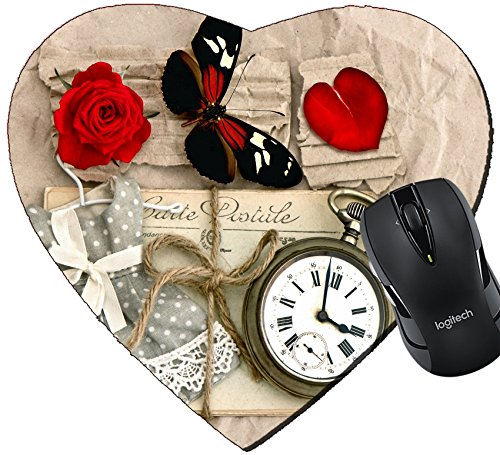 MSD Mousepad Heart Shaped Mouse Pads/Mat design 27133966 old love post cards and vintage clock red rose flower valentine heart butterfly nostalgic romantic (Post Shaped Flower)