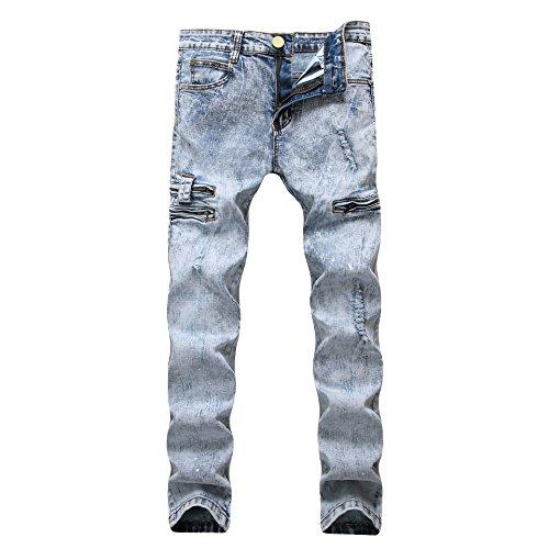 Pantalones Vaqueros Hombre Desgarrar Agujeros Jeans Algodón Pernera Recta Vaqueros Azul,Vaqueros para hombre Straight Fit con estilo desgastado Snow Azul