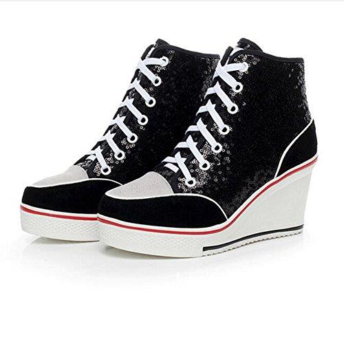 PP FASHION Womens Genuine Leather Wedge Platform Sneaker Paillette Shoes Black A1CUowC