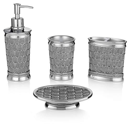 Essentra Home 4-Piece Bathroom Accessory Set Chrome Finish, Complete Set Includes: Soap/Lotion Dispenser, Toothbrush Holder, Tumbler and Soap Dish by Essentr Home