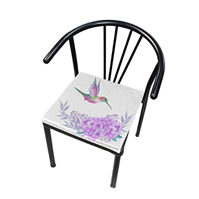 "Bardic HNTGHX Outdoor/Indoor Chair Cushion Hummingbird Flower Square Memory Foam Seat Pads Cushion for Patio Dining, 16"" x 16"": Home & Kitchen"