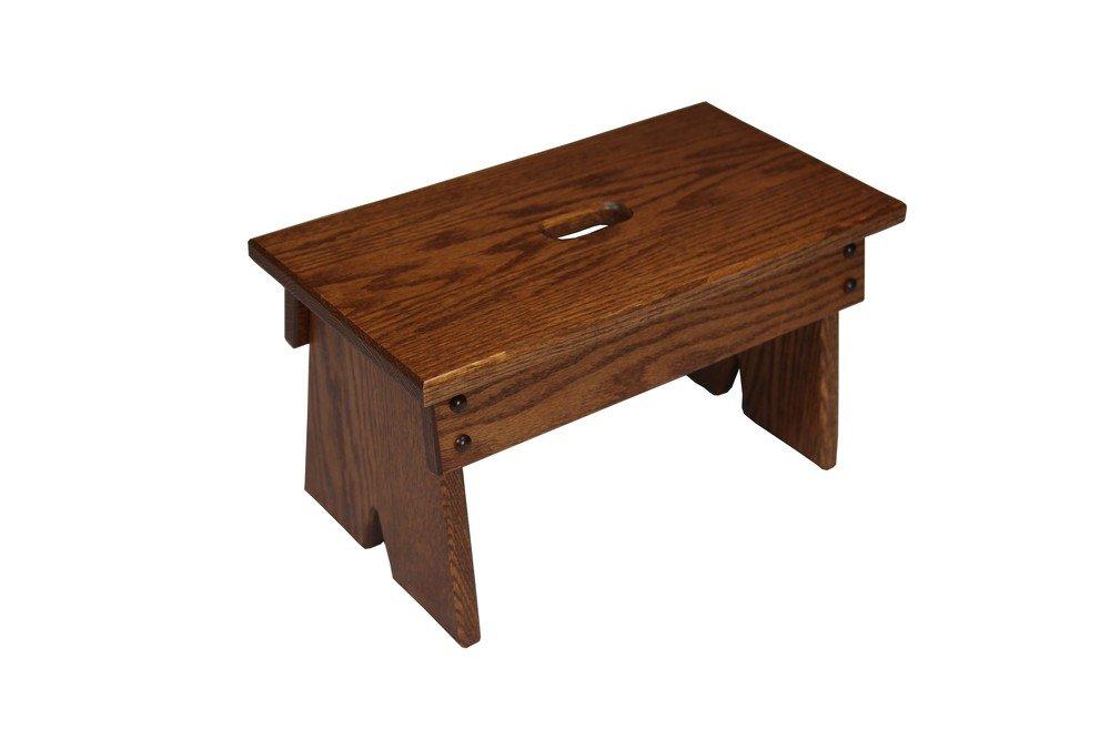Amish Craftsman Step Stool Solid Oak, Handmade Amish Footstool for Kitchen, Bedroom, Living Room, or Bathroom
