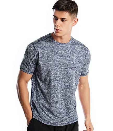 Zengjo Men's Quick Dry Athletic Shirts Tech Strech Short Sleeve Running T Shirt(Marled Navy, M)
