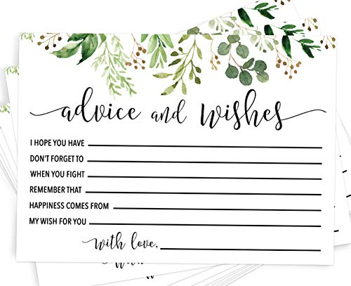 Advice and Wishes | Set of 50 Advice Cards for The Bride and Groom | Unique Wedding Guestbook Alternative and Bridal Shower -