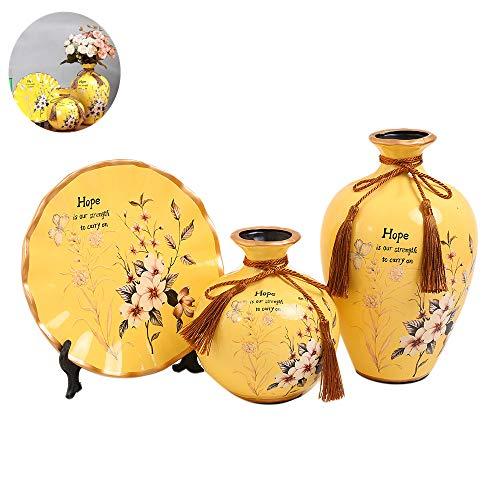 Anding Ceramic Yellow Bottles 3 Sets of Ceramic Vases, Chinese Vase Home Decoration, Modern Vase Set (LY1765 JINGYU)