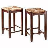 Winsome Wood 94284 Kadens 2 Piece Bar Stools Rush Seat Set