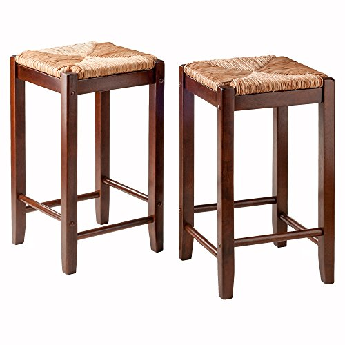 Winsome Seat Square (Winsome Wood 94284 2 Piece Bar Stools Rush Seat Kaden Set)