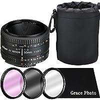 Nikon AF NIKKOR 50mm f/1.8D Lens Bundle for Nikon DSLR Cameras (White Box)