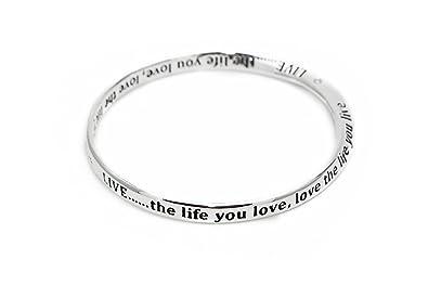 Silver Plated Love Heart Message Bracelet Bangle NEW (54352) kCcVC