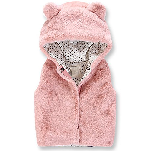 Amazon.com: QJH Little GirlsFleeces Warm Vests with Animal Hood: Clothing