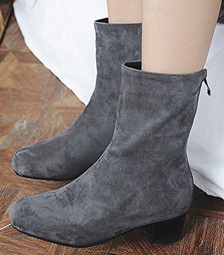 Idifu Womens Elegante Faux Suede Zip-up Vierkante Neus Middenkuit Laarzen Met Hak Grijs