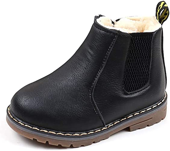 Child Kids Boys Girls Winter Warm Chelsea Martin Ankle Boots Toddler Flat Shoes