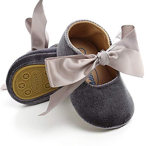 BubbleColor Baby Girls Princess Shoes Newborn Infant Toddler Bow Mary Jane Prewalker Dress Crib Shoes (L:12-18 Months/5.12