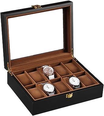 Woody Caja para Guardar Relojes De Pulsera,Red 10 Regalos Matt Reloj Caja De Colección: Amazon.es: Relojes