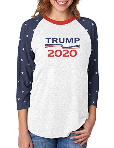 Donald Trump President 2020 Campaign 3/4 Women Sleeve Baseball Jersey Shirt Small Stars
