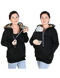 4 in 1 Maternity Sweatshirt Nursing Breastfeeding Hoodie BLACK/GRAFITI