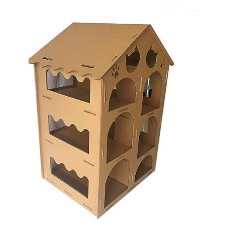 L&XY Casa De Gato Corrugado Casa De Gato Cartón Reciclable DIY Montado De Múltiples Capas Gato