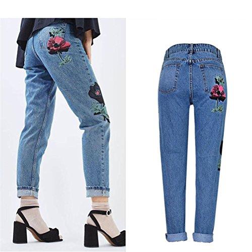 Florales Azul Talle Alto Bordados Oudan Pantalones De Boyfriend Vaqueros zqxZt8w