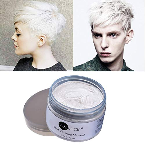VOLLUCK White Hair Wax Pomades 4.23 oz - Disposable Natural Hair Styling Coloring Clays Ash Wax for Party, Cosplay,Halloween, Date (White) -