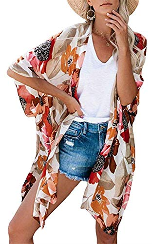 Womens Floral Kimono Cardigans Sheer Print Chiffon Loose Beach Cover ups (Apricot,M