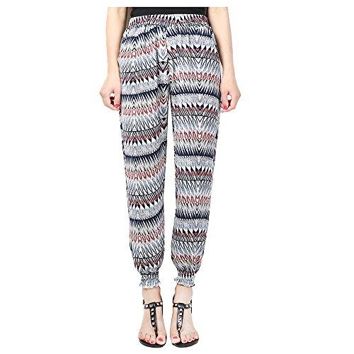 - Hanglin Trade Women's Smocked Waist Floral Rayon Yoga Boho Harem Pants Plus Size Fitness Pants Yoga Pants(Style-3 L)