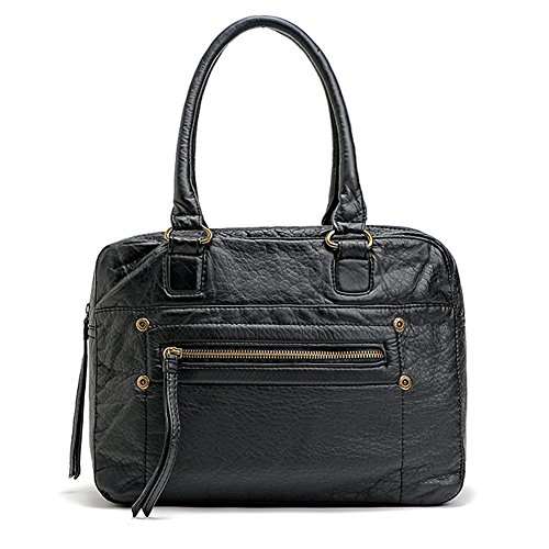 FanCarry Washed Soft Leather Handbag Tote Boston Bag for Women - Handbag Boston Black