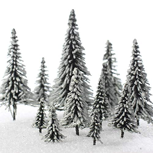 Factory Direct Craft Set of 15 Miniature Flocked & Frosted Winter Snow Model Pine Trees in Assorted Sizes for Christmas Train Displays, Dioramas, Fairy Gardens, Village Displays and Holiday Dollhouses