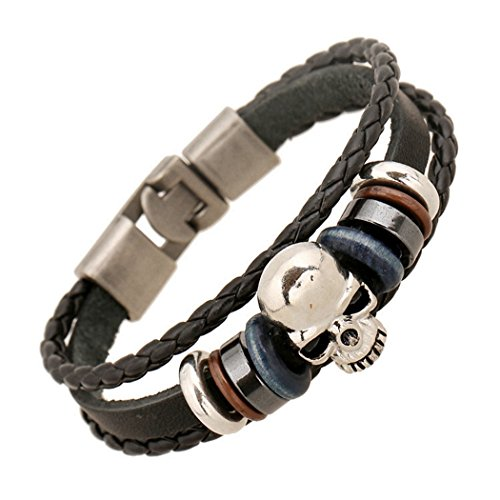 MORE FUN Punk Style Alloy Button Leather Two Black Handmade Braided Rope Bracelet (Skull Head)