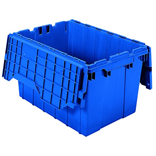 Akro-Mils 39120 Plastic Storage and Distribution Container Tote with Hinged Lid, 21.5-Inch L by 15-Inch W by 12.5-Inch H, Blue, Case of 6 by Akro-Mils
