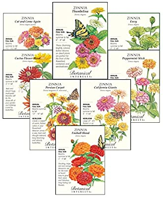 Botanical Interests Just Zinnias Flower Seed Collection - 8 Packets with Gift Box