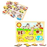 OneCreation Wooden Peg Puzzles Set of 2 (Animals&Vehicles) Cognitive Hand Grasping Board Early Educational Toys Puzzle for 1-6 Years Old Baby Toddles Boys Girls