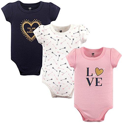 HUDSON BABY Unisex Baby Cotton Bodysuits, Love 3 Pack, 9-12 Months (12M)