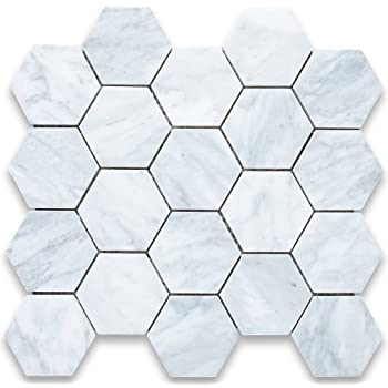Carrara White Italian Carrera Marble Hexagon Tile Inch Polished - 10 inch hexagon tile