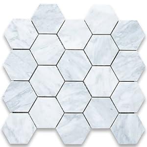 Carrara White Italian Carrera Marble Hexagon Mosaic Tile 3 inch Honed