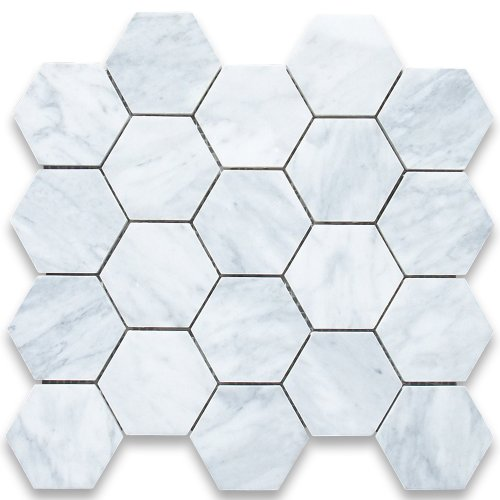 - Carrara White Italian Carrera Marble Hexagon Mosaic Tile 3 inch Honed