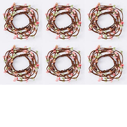 (Factory Direct Craft Small Springtime Pip Berry Candle Rings | 6 Candle Rings | for Indoor)