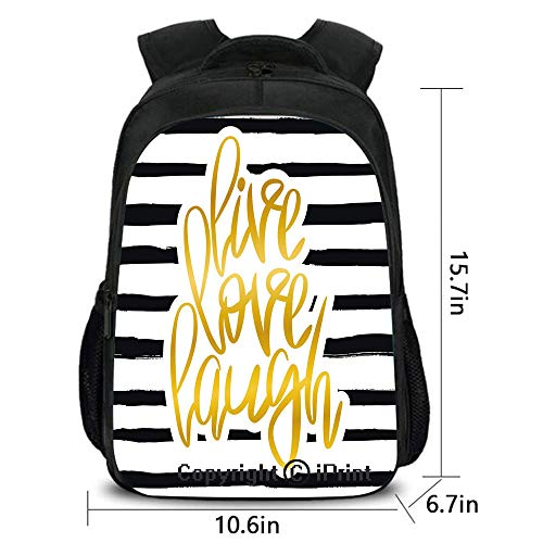 Men and Women Student Backpack,Romantic Poster Design with Hand Drawn Stripes and Calligraphy,School Bag :Suitable for Men and Women,School,Travel,Daily use,etc.Black White Gold