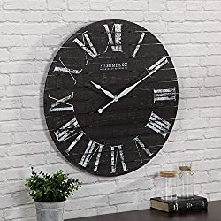 FirsTime & Co. 31092 Midnight Shiplap Wall Clock, 29, Distressed Black, White