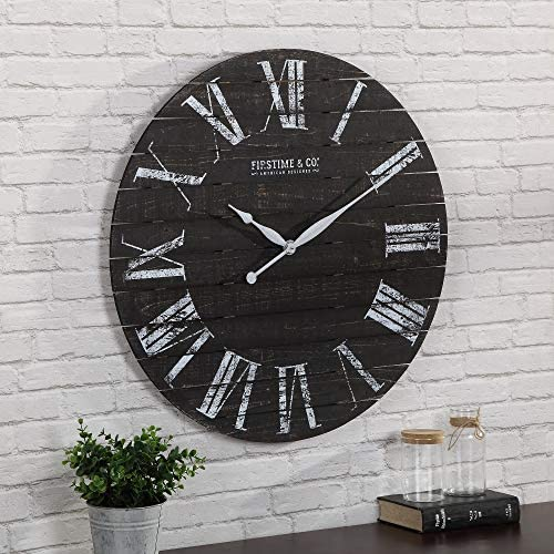 FirsTime Co. Midnight Shiplap Wall Clock